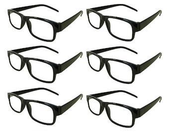 Mr. Reading Glasses 6 Black Plastic Frame Men/Women Vintage Reader Wholesale +2.25