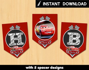 Instant Download - Cars 3 Lightning Mcqueen Birthday Party Banner Pennant DIY Red Chalkboard Race Flag DIY - Digital File