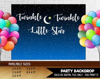 Baby Shower Party Backdrop Twinkle Twinkle Little Star Moon Night Stars Midnight Blue DIY Printable - Digital File