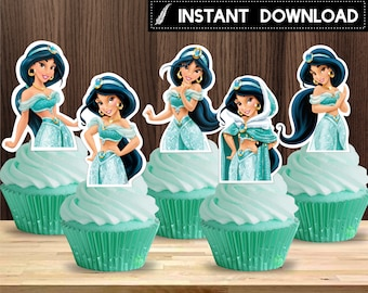 Instant Download - Princess Jasmine Aladdin Cupcake Topper Birthday Party Baby Shower Printable DIY - Digital File