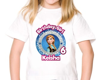 Personalized Frozen Princess Anna Birthday Girl Tshirt Party Tee Shirt Iron On Transfer Image Printable DIY - Digital File