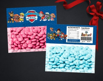 Personalized Paw Patrol Bag Topper Ziploc Blue Favor Toppers Chase Marshall Skye Everest Rubble Birthday Party Printable DIY - Digital File