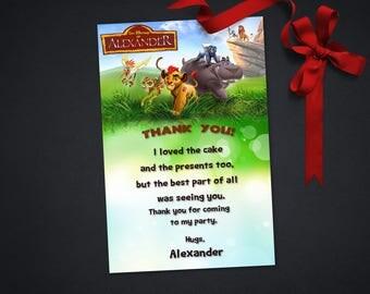 Personalized The Lion Guard Thank You Card Birthday Party Lion King Kion Bunga Fuli Beshte Ono Printable DIY - Digital File