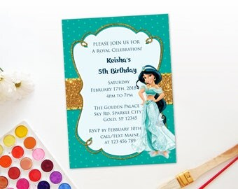 Personalized Princess Jasmine Birthday Invitation Invite Gold Accent Teal Polka Dots Turquoise Party Printable DIY - Digital File