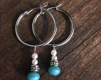 Hoop Earrings,  turquoise, pearls, pearl earrings, silver earrings, pearl earrings, turquoise earrings, boho earrings,
