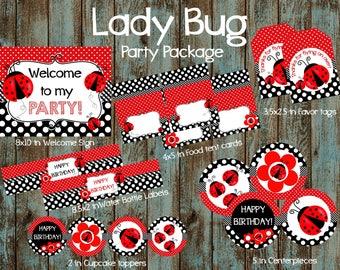 Ladybug Party Package, Ladybug Printable Party Decorations, Ladybug Party Supplies, Ladybug Centerpieces, Ladybug Cupcake Toppers, Lady bug