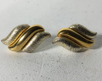 Women's Vintage Napier Gold Tone Pierced Earrings Gift For Her
