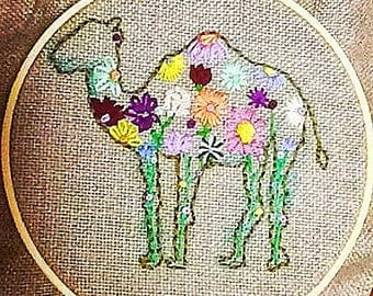 Embroidered Camel with Flowers on Burlap
