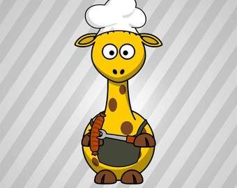 Giraffe Barbecue - Svg Dxf Eps Silhouette Rld Rdworks Pdf Png Ai Files Digital Cut Vector File Svg File Cricut Laser Cut