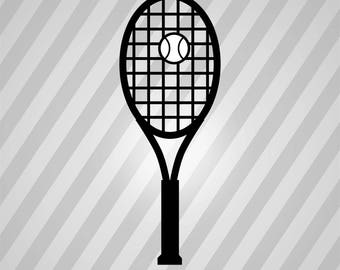 Tennis Racket Ball Silhouette - Svg Dxf Eps Silhouette Rld Rdworks Pdf Png Ai Files Digital Cut Vector File Svg File Cricut Laser Cut