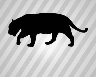 jaguar Silhouette - Svg Dxf Eps Silhouette Rld RDWorks Pdf Png AI Files Digital Cut Vector File Svg File Cricut Laser Cut