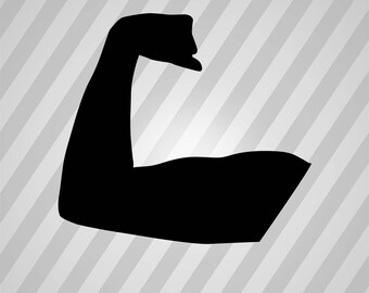 muscle Silhouette - Svg Dxf Eps Silhouette Rld RDWorks Pdf Png AI Files Digital Cut Vector File Svg File Cricut Laser Cut