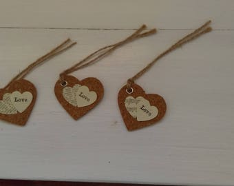 3 Heart shaped gift tags
