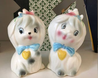 Lefton Mr Toodles Salt & Pepper Shakers/Vintage Shakers/Maltese Puppies/Vintage Kitchen