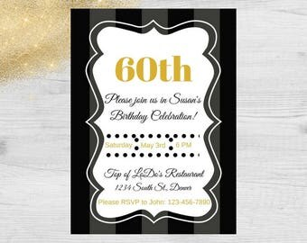 Black and Gold Birthday Party Invitation / Black and White Party Invitation / Adult Birthday Party Invitation / Birthday Party Invitation