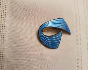 Vintage Aksel Holmsen Sterling Silver Modernist Blue Enamel Pin Brooch