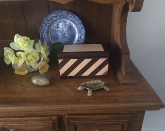 Maple and Walnut Striped keepsake Box