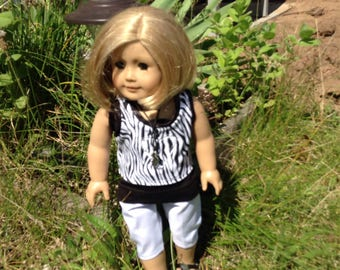 18 inch dolls like American Girl & Maplelea Black and white Capri, reverse applique tee, cami