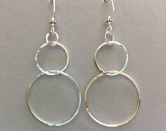 Dangly sterling silver circle earrings, hammered, handmade.