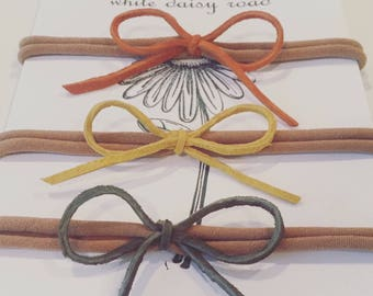 rust, gold & olive suede nylon headband l bows l set of 3 l baby