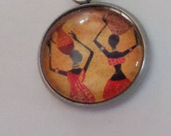 """earring, cabochon glass 16 mm """"African"""" sold to the PIECE"""