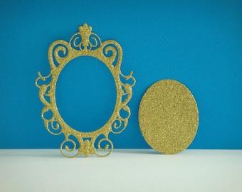 Cut gold glitter mirror frame