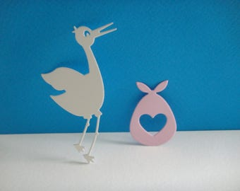 Cut out door and white stork baby pink