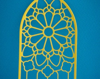 Cut stained glass Church yellow for scrapbooking and card