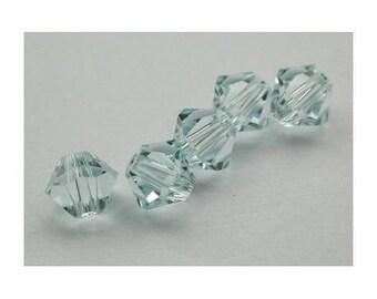 4 mm: 8 Swarovski Crystal bicone beads Light Azore