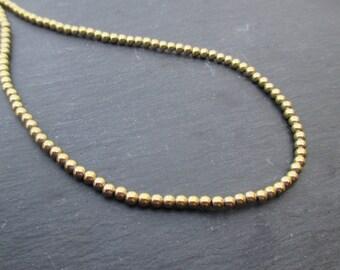 Hematite: 30 3 mm round beads - gemstone