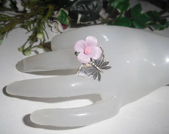 Original 925 sterling silver ring with purple flower in porcelain and Butterfly