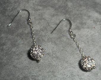 Earrings in 925 Silver with chain and Swarovski Crystal beads