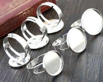 set of 5 supports silver 18 mm cabochon Adjustable ring