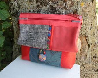 Textile shoulder bag handbag flap red and blue
