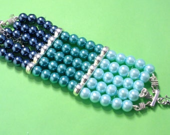 BRACELET 5 rows glass beads: 18cm made by me