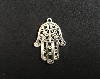 Large silver filigree Hamsa charm