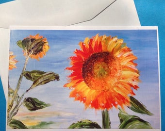 """Map double reproduction photo of my painting """"sunflowers"""""""