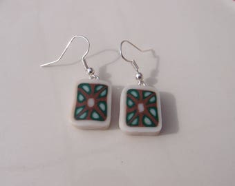 Earrings geometric polymer clay - mosaic and seventies spirit