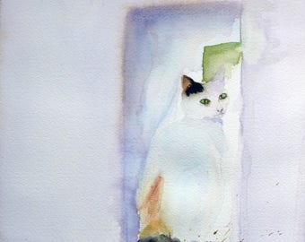 watercolor a beautiful pussy called Gypsy