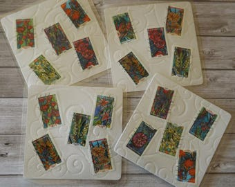 Dessous de verres carrés  plastifiés - création originale - nouvelle collection -  '' Les Fleurs ''
