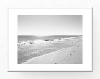 Beach House Art, Digital Download, Black and White Art, Beach Cottage Decor, Beach Poster, Beach Sand, Black and White Print, Printable Art