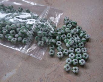 Large seed beads, round beads, white stripes of green. 4mm
