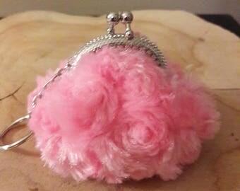 Mini wallet, door trolley token pink faux fur.