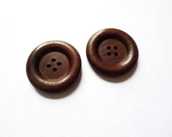 round ethnic 30mm Brown wooden button