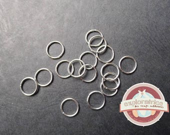 50 8mm silver round jump rings