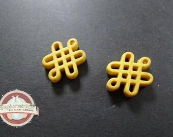 2 Chinese knots beads ethnic yellow howlite 15x20mm
