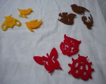 set of 9 animals felt theme embellishments