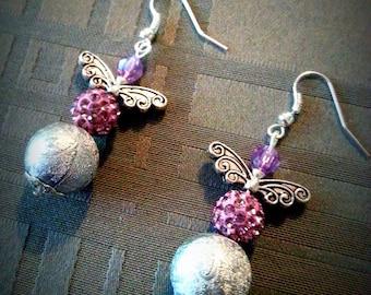 Fancy flight, grey and purple beads with butterfly wings earrings