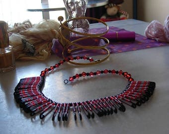 Necklace red and black beads stendhal adjusted pins nurses