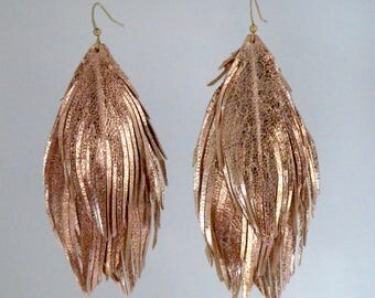 Multiple layered rose gold leather feather earrings soft leather feather earrings leather earrings lightweight dangle earrings